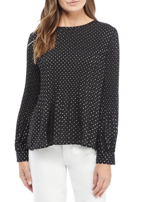 Kim Rogers® Womens Long Sleeve Foil Dot Blouse