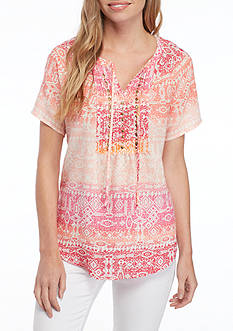 Kim Rogers® Short Sleeve Tie Neck Printed Blouse