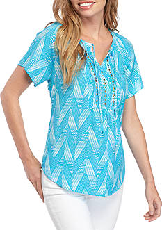 Kim Rogers® Short Sleeve Tie Neck Woven Top