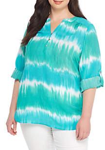Plus Size Tie Dye Liano 3/4 Sleeve Top