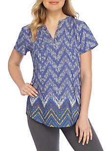 Plus Size Short Sleeve V-Neck Chevron Print Top