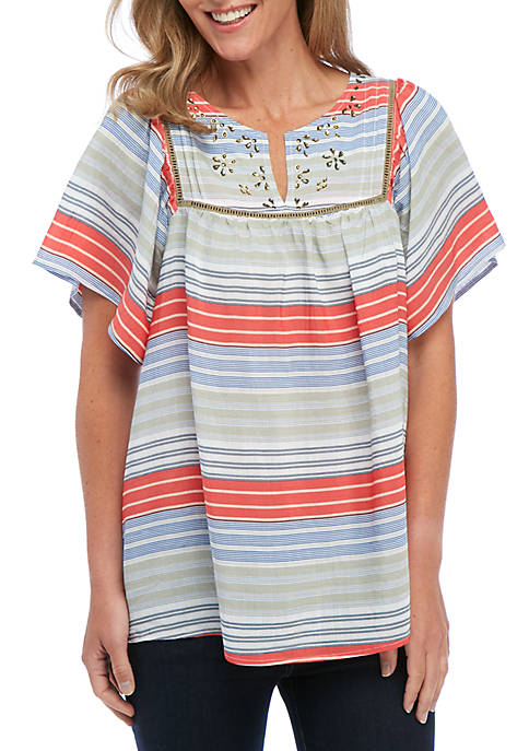 Kim Rogers® Short Sleeve Embroidered Bib Multi-Stripe Top
