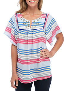 Short Sleeve Embroidered Bib Multi-Stripe Top