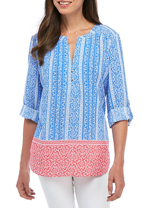 Kim Rogers® Three-Quarter Mix Print Stripe Llano Top