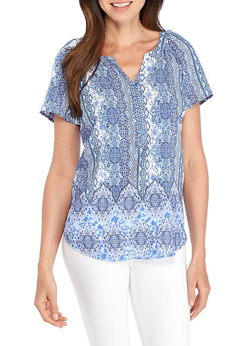 Kim Rogers® Short Sleeve Mix Print Stripe Liano