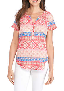 Short Sleeve Mix Print Stripe Liano Top