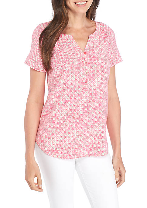 Kim Rogers® Short Sleeve Grid Liano Top
