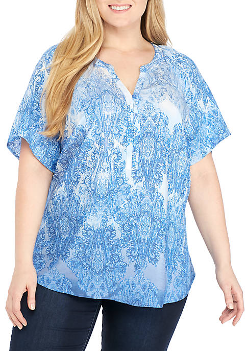 Kim Rogers® Plus Size Short Sleeve Large Medallion