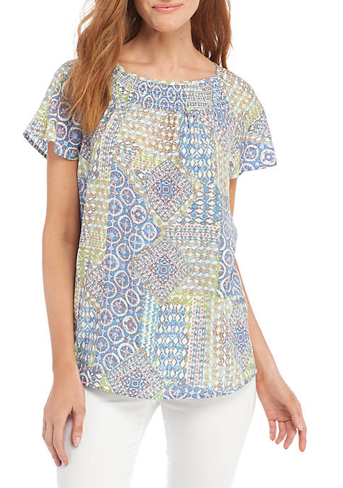 Kim Rogers® Short Sleeve Rouche Neck Patchwork Top