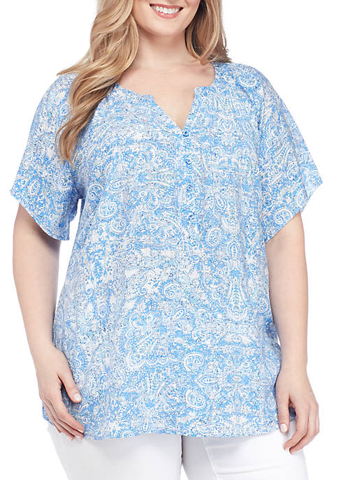 Kim Rogers® Plus Size Short Sleeve Split Neck