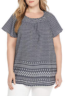Plus Size Short Sleeve Ruch Neck Border Print Top