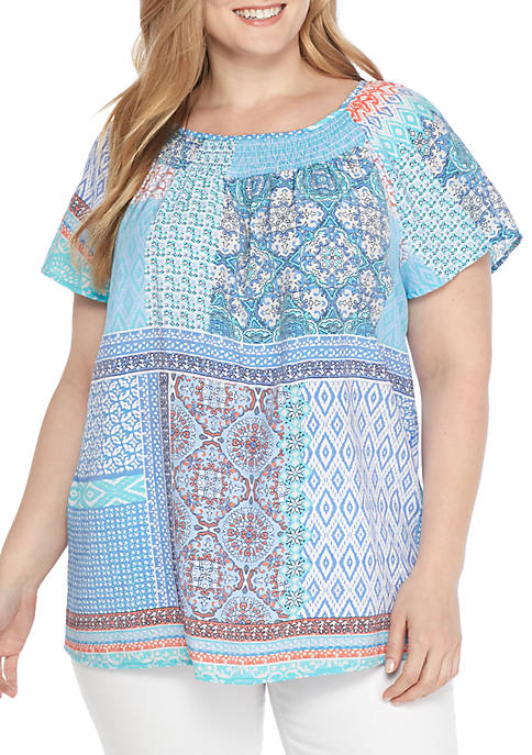 Kim Rogers® Plus Size Short Sleeve Ruch Neck