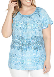 Plus Size Short Sleeve Ruch Neck Tie-Dye Liano Top
