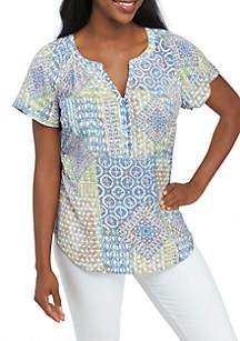 Petite Short Sleeve Split Neck Printed Liano Top