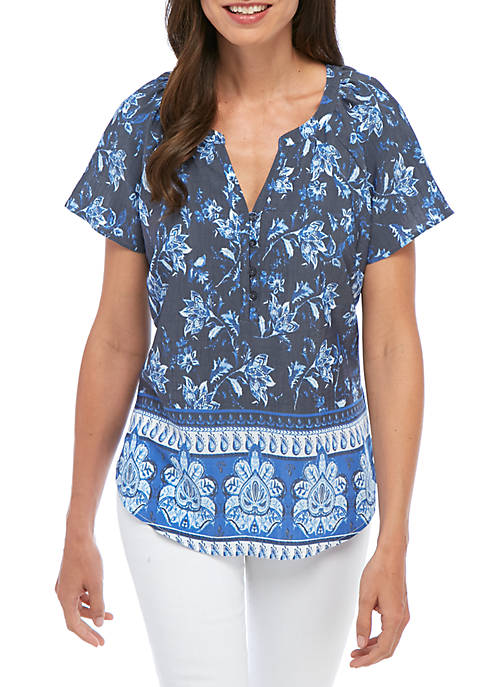 Kim Rogers® Petite Short Sleeve Split Neck Floral