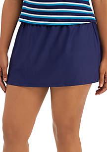 Beach Diva Plus Size Solid Swim Skirt