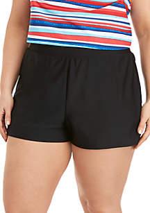 Beach Diva Plus Size Solid Swim Shorts