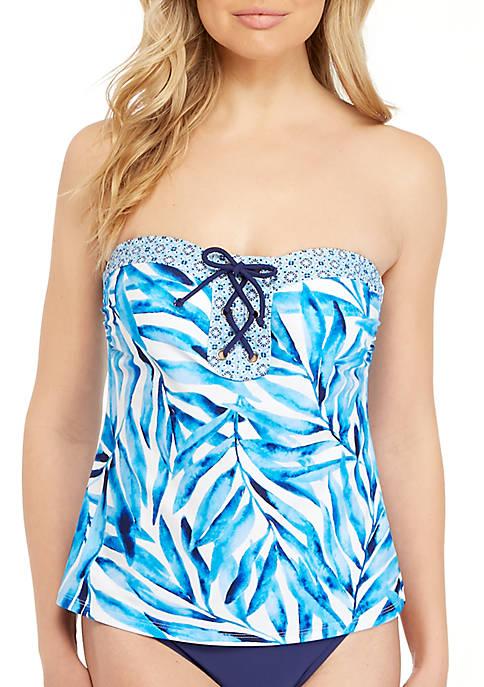 Beach Diva Painted Palm Lace Up Swim Bandeaukini