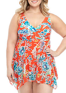 Beach Diva Plus Size Bold Bloom Swim Dress