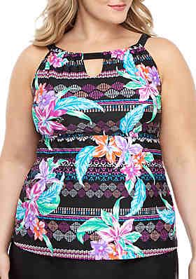 48163921a40 Beach Diva Plus Size Tropic Tide High Neck Swim Tankini ...