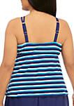 Plus Size Sail Away Stripe Halter Swim Tankini