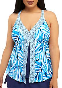 Beach Diva Plus Size Painted Palm Fly Away Swim Tankini