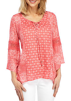 New Directions® Weekend Three-Quarter Sleeve Lace Up Top