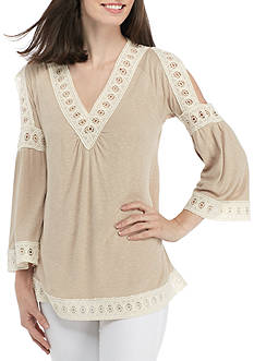New Directions® 3/4 Cold Shoulder Sleeve V-Neck Top