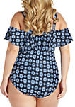 Plus Size Off the Shoulder Lace Up One Piece Swimsuit
