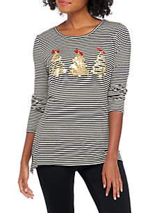 Long Sleeve Stripe Trees T-Shirt