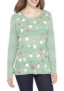 Long Sleeve Green White Stripe Allover Santa Tee