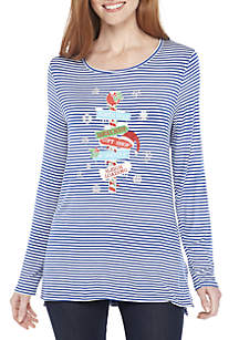 Long Sleeve Stripe Stacked Signs T-Shirt