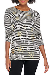 Long Sleeve Stripe Snowflakes T-Shirt
