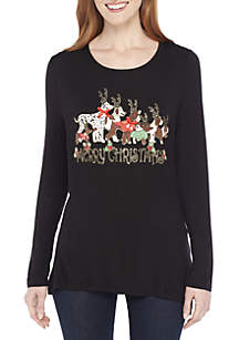 Long Sleeve Merry Christmas Dogs T-Shirt