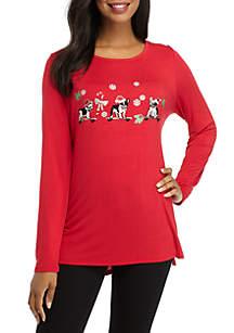 Long Sleeve Solid Holiday Bulldog T-Shirt