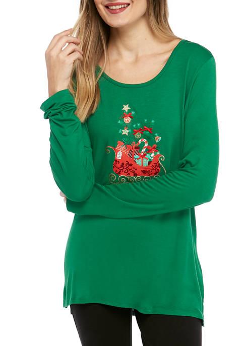 Joyland Womens Long Sleeve Christmas Sleigh Graphic T-Shirt