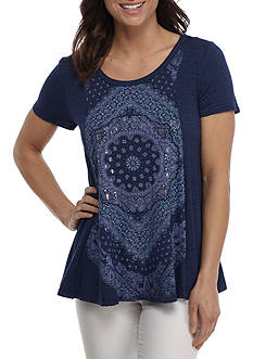 New Directions® Weekend Short Sleeve Screen Front Swing Knit Top