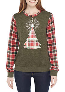 Long Sleeve Plaid Contrast Sleeve Sweater with Tree Motif