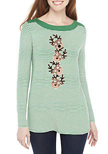 Long Sleeve Green White Stripe Stacked Reindeer Tee