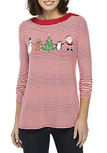 Long Sleeve Stripe Christmas Friends T-Shirt