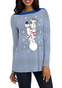 Long Sleeve Stripe Snowman T-Shirt
