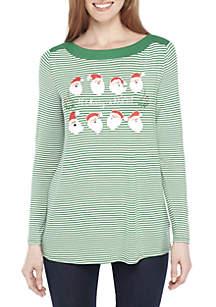 Long Sleeve Green and White Stripe Santa Tee