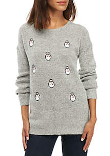 Long Sleeve Penguin Motif Pullover Sweater