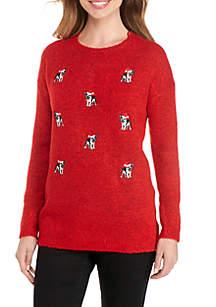 Long Sleeve Bulldog Motif Pullover Sweater