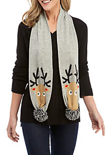Long Sleeve V-neck Sweater with Reindeer Scarf