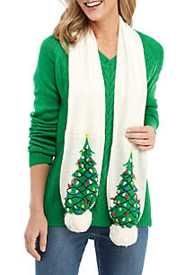 Long Sleeve V-Neck Sweater with Tree Scarf