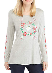 Long Sleeve Wreath and Bells Top