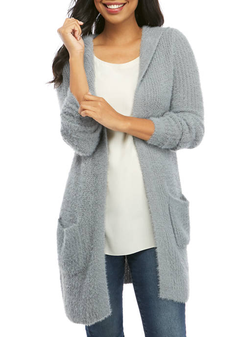 Womens Feather Cardigan with Hood