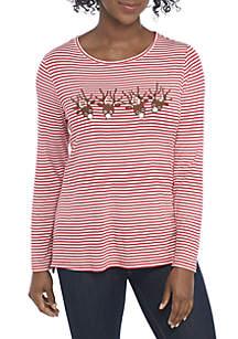 Petite Christmas Striped Reindeer Top