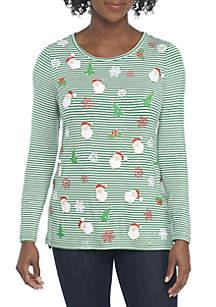 Petite Santa Snowflake Knit Top